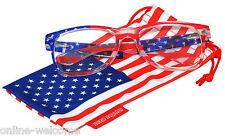 US American Flag Clear Lens Retro Sunglasses Glasses US Patriotic 4th of July