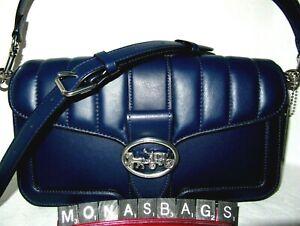 Coach 5567 Georgie Quilted Cobalt Blue Leather Crossbody Shoulder Satchel Bag