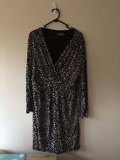 JACQUI E Stretch dress Sz XL, black, white and brown print