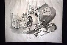Incisione d'allegoria e satira Roma proclama la Costituzione Don Pirlone 1851