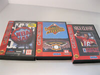 3 Sega Genesis Game Lot World Series Baseball Joe Montana Football NBA Jam Video