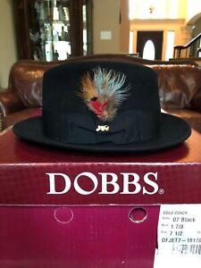 "DOBBS ""JET 707"" BLACK 7 1/2 CLASSIC STINGY BRIM DESIGN!"