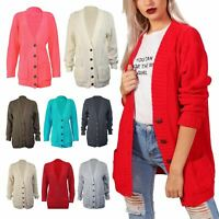 Womens Ladies Aran Cable Chunky Knitted Button Boyfriend Grandad Cardigan Jumper