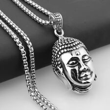 Steel Buddha Pendant Box Necklace Mens New Jewelry Religious Style Stainless