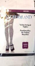 Ladies Fashion Tights Black & White Striped One Size Fits Most Wonderland New