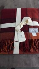 Linea Emmeti Italy Wool Throw – Rust and Red - New