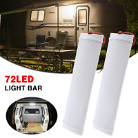 2PC Premium 72 LED Strip Light BAR 12V Interior Lamp Camping Caravan Boat White