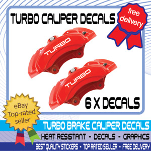 6 x Turbo Brake Caliper Decals Cars Motorcycles Stickers High Temp Waterproof