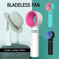 360 Degrees Portable Mini Fan Bladeless Hand Held Cooler USB Cable No Leaf +Base