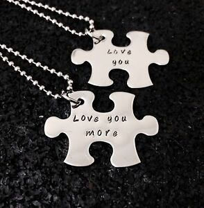 personalised hand stamped stainless steel Puzzle Piece Pendant Set Father's Day