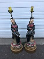Pair Of Vintage Chinese Oriental Figural Lamps Red And Black With Dragon