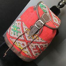 Handwoven Kilim and leather Backpack. Turkish Carpet Bag. Hippie Rucksack..
