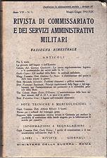 RIVISTA DI COMMISSARIATO E DEI SERVIZI AMMINISTRATIVI MILITARI - ANNO 1941