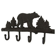 Metal Wall Mount Black Bear Hook 4 Hooks Key Ring Organizer/Hat Holder/Coat Rack