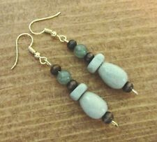 Beaded Green Aventurine Earrings, Dangle, Handcrafted, Czech Beads, item #59