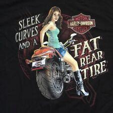Harley Davidson Fat Rear Tire Pin Up Girl black Shirt Nwt Men's XL