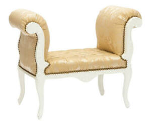 Bench Wooden Lacquered White Style Louis XVI Fabric Damask Yellow