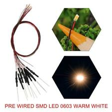 20pcs Pre-wired SMD 0603 LED Warm White Pre-soldered micro litz wired 0603 LED