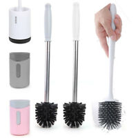 Wall-Mounted Long Handle Toilet Cleaner Brush with Base Bathroom WC Tools Kits
