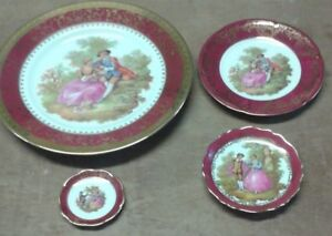 4 French Limoges fine porcelain china decorative plate / dish collection.    A12