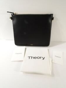 Theory WOmen's Transformer Pouch In Leather Pouch Bag Clutch NWT 225 Black