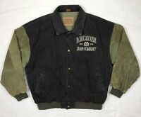 Vtg 90s Arizona Jeans Co Mens XL Distressed Denim Leather Varsity Bomber Jacket