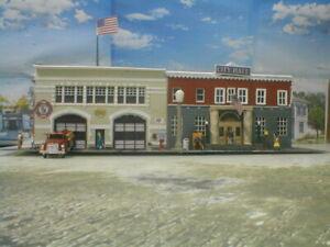 HO building City Hall Police Jail Fire Dept Custom built Detailed Weathered Lite