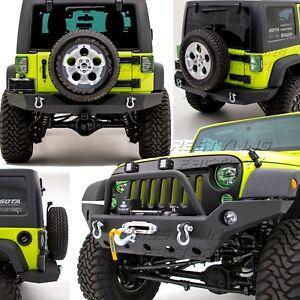Rock Crawler Full Width Front+Rear Bumper+Winch Plate fit 07-18 Jeep Wrangler JK