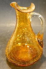 Vintage Hand Blown Amber Crackle Art Glass Pitcher Applied Clear Handle Excel #2