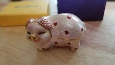 Rucinni Enamel Standing Pig with Hearts & Crystals Trinket Box - NWOB