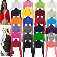 JUSTYOUROUTFIT WOMEN LONG SLEEVE PLAIN BOLERO SHRUG CROPPED VISCOSE JERSEY TOP