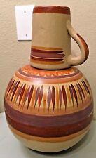 "Mexican Pottery Jug Water Botellon Pitcher Vase Extra Large 16"" Folk Art Tonala"