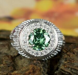 Designer 4.01 Ct Green Diamond Solitaire Halo Men's Ring Ideal Gift For Someone