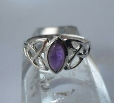 523 Celtic Amethyst Solid 925 Sterling Silver Gemstone Ring sz N/Q/T rrp$49.95