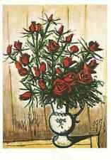 Postcard! Bernard Buffet - Rote Rosen in weiß und blauer Vase