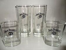 Jack Daniels Whiskey Glasses x 4 Jack Daniels Black Logo Tall & Tumbler Glasses