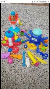 Play doh set inc hairdresser, octopus bakery tools modelling clay dough
