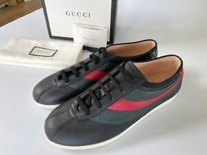 Gucci Hebron Men's Black Leather Bee Sneaker US 8.5, 10.5, 483266