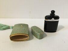 Vintage Art Deco Caron Nuit De Noel Black Glass Perfume Bottle With Box