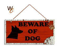Beware of Dog Sign, Dog Bite Sign, Red Distressed 5 x 10 Rustic Wood Dog Sign