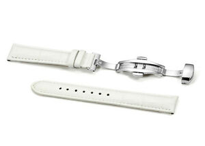 Calf  White Leather Watch Strap S/S Deployment Clasp 12mm to 20mm Watch Band