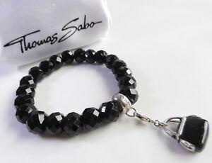 THOMAS SABO Armband Obsidian 925 Sterlingsilber mit Charm *Tasche* Schmuckbeutel
