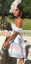 ASOS Pastel Stripe Bardot Midi Prom Dress 14 BNWT