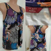 TED BAKER Size M Psychedelic Print Multi-Colour Racer-Back Vest Sleeveless Top