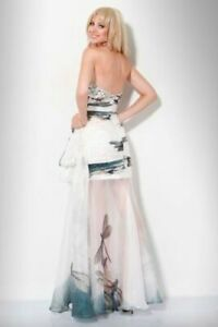 """$800 JOVANI """"new york dragonfly"""" formal ball gown cocktail dress 10"""