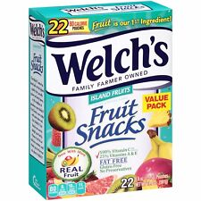 NEW WELCH'S ISLAND FRUIT SNACKS 19.8 OZ BOX 22 POUCHES VALUE PACK FAT GLUTENFREE