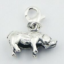 Silver charm chinese zodiac pig or boar charm w lobster clasp 20mm height  PSA
