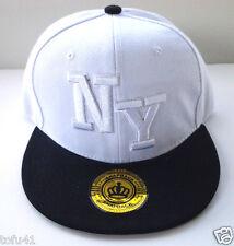 Retro NY Snapback Hat with Flat Green Underbill  Two Tone White Black