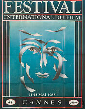Original Vintage Poster Cannes Film Festival French 1988 Movies Modern Cinema