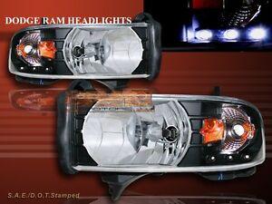 1994 - 2001 DODGE RAM 1500 2500 3500 PICKUP BLACK HEADLIGHTS LED AMBER